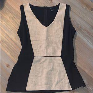 Ann Taylor black tan peplum career top blouse M